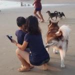 女性にマーキングする犬