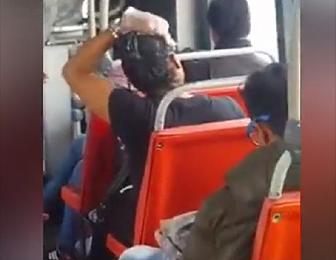 バスの中で髪を染める