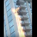 高層ビル窓拭きで事故