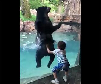 クマとジャンプする5歳の少年