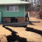 火山噴火で庭に亀裂